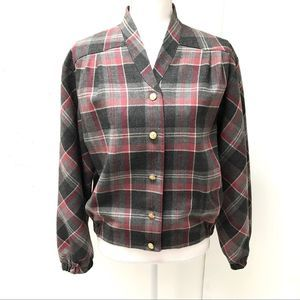 Vintage Wool Lightweight Plaid Button-Up Jacket M